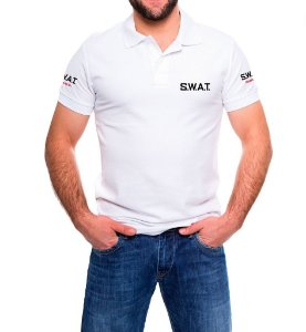 Camisa Masculina Gola Polo Branca SWAT