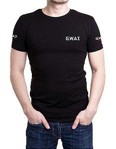 Camiseta Preta Masculina Bordada SWAT