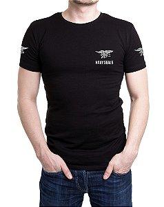 Camiseta Masculina Preta Bordada Navy Seals