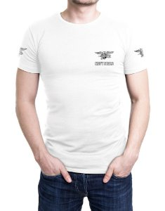 Camiseta Bordada Navy Seals Branca