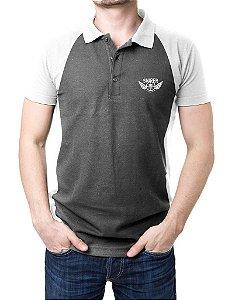 Camisa Gola Polo Sniper - Cinza e Branco