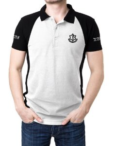 Camisa Gola Polo Israel Defense Forces - Branco e Preto