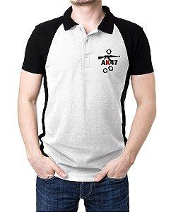 Camisa Gola Polo AK47 - Branco e Preto