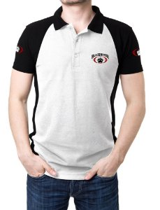 Camisa Gola Polo Blackwater - Branco e Preto