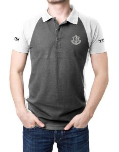 Camisa Gola Polo Israel Defense Forces - Cinza e Branco