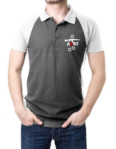 Camisa Gola Polo AK47 - Cinza e Branco