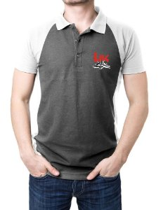 Camisa Gola Polo HK - Cinza e Branco