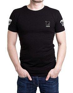Camiseta Masculina Preta Bordada ROTA ( com bordado nas costas)