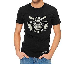 Camiseta Estampada - Bombeiro 13 Preta