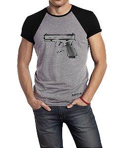Camiseta Estampada - Pistola Glock  Duas Cores