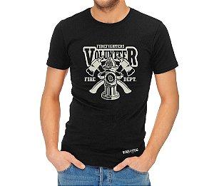 Camiseta Estampada- Bombeiro Volunter Preta