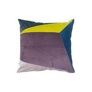 Almofada Geométrica Bordô, Azul, Neon
