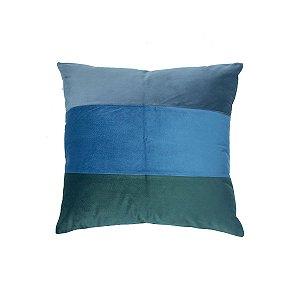 Almofada Veludo Faixas Verde e Azul