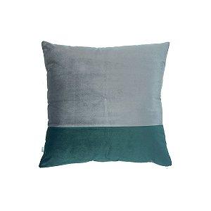 Almofada Veludo Faixas Cinza e Verde