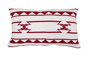 Almofada Rim Étnica Branco e Vermelho