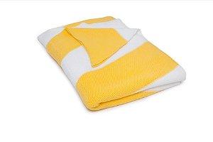 Manta Maxi Chevron Branco e Amarelo