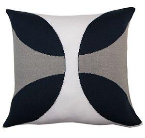 Almofada Borboleta Cinza Branco e Azul Marinho