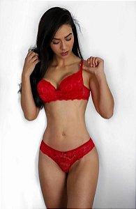 Conjunto Lingerie Louvre - Vermelho