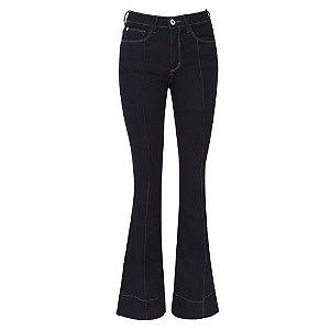 Calça Jeans Malwee Flare Pespontos Azul