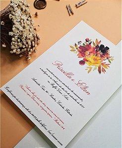 Identidade visual: artes avulsas, kits ou convite de casamento - floral terracota amarelado [artes digitais]