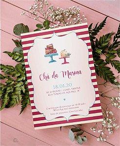 Convite Chá de Cozinha ou Identidade Visual - Listras Bolo [Artes Digitais]