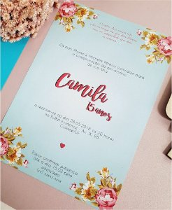 Convite de 15 Anos ou Identidade Visual - Floral Tiffany e Rosa [Artes Digitais]