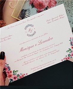 Convite de Casamento ou Identidade Visual - Clássico Floral Rosé [Artes Digitais]
