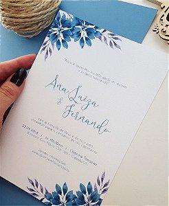 Convite de Casamento ou Identidade Visual - Floral Azul Serenity [Artes Digitais]