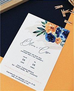 Convite de Casamento ou Identidade Visual - Floral Salmão Azul [Artes Digitais]