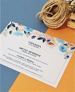 Convite de Casamento ou Identidade Visual - Salmão e Azul [Artes Digitais]