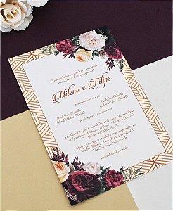 Convite de Casamento ou Identidade Visual - Floral Burgundy [Artes Digitais]