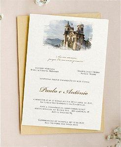 Convite de Casamento ou Identidade Visual - Local do Evento em Aquarela Digital [Artes Digitais]