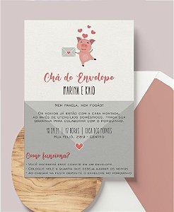 Convite Chá de Envelope ou Identidade Visual - Porquinho [Artes Digitais]
