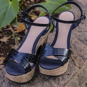 Sandália Plataforma com Salto Rolha