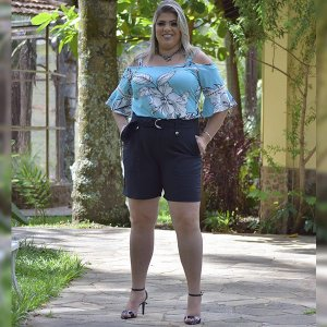 Shorts Alfaiataria Plus Size