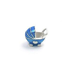 Berloque Carrinho de Bebê em Prata 925 com Resina - Linha Dreams