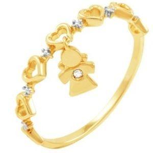 Anel em Ouro Amarelo 18k com Pingente de Menina e Brilhantes