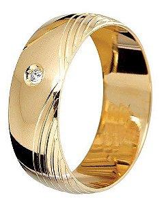 Aliança Concava em Ouro Amarelo 18K com Friso em Ouro Branco 18k com ... 56046e518d