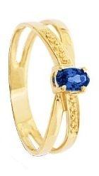 Anel de Formatura em Ouro Amarelo 18K com Safira Azul Natural