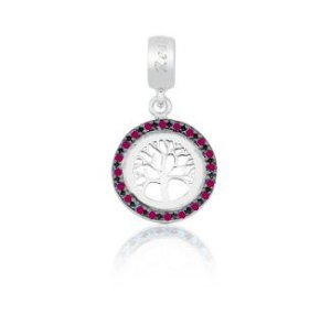 Berloque Árvore da Vida em Prata 925 com Ródio Branco e Zircônias - Linha Dreams