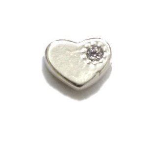 Mini Berloque Coração em Prata 925 com Zircônia