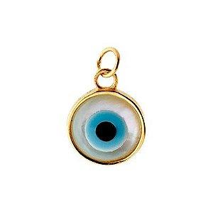 Pingente Olho Grego em Ouro Amarelo 18k com Madrepérola