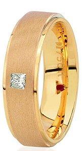 Aliança Eternn Essência - Reta em Ouro Amarelo 18k com faixa Central Fosca com Brilhante