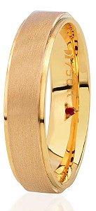 Aliança Eternn Essência - Reta em Ouro Amarelo 18k com faixa Central Fosca