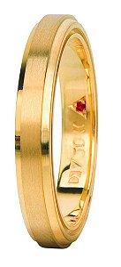 Aliança Eternn Tríade - Reta em Ouro Amarelo 18k com faixa Central Fosca