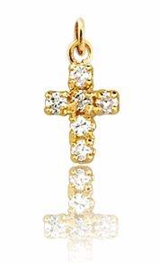 Pingente Mini Cruz em Ouro Amarelo 18k com Zircônias