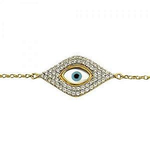 Pulseira Olho Grego em Ouro Amarelo com Zircônias e Madrepérola