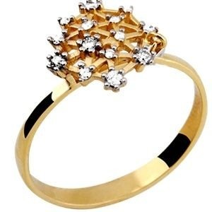 Anel Chuveiro em Ouro Amarelo 18k com Brilhantes