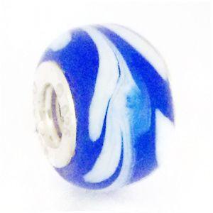 Berloque Murano Azul com Branco  - Linha Dreams