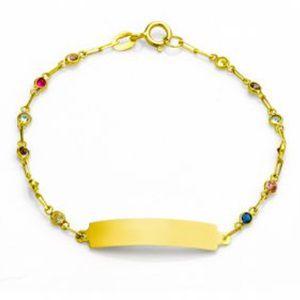 Pulseira Infantil em Ouro Amarelo 18k com Zircônias Coloridas